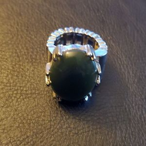 Boutique Silver Tone and Black Accent Fashion Ring